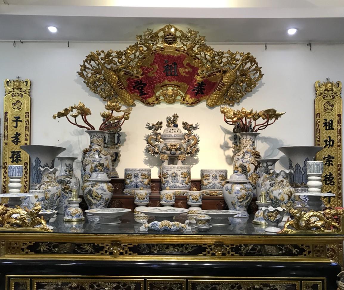 Đồ thờ Gốm Lam Bát Tràng