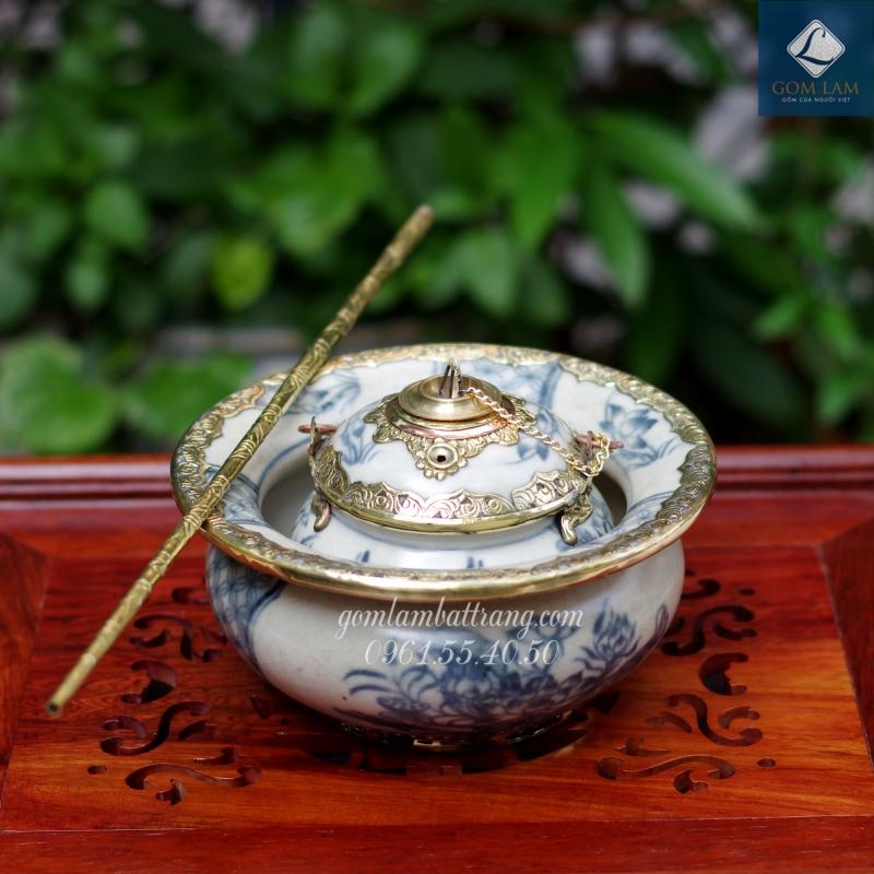 Bát điếu men rạn bọc đồng vẽ sen Gốm Lam Bát Tràng