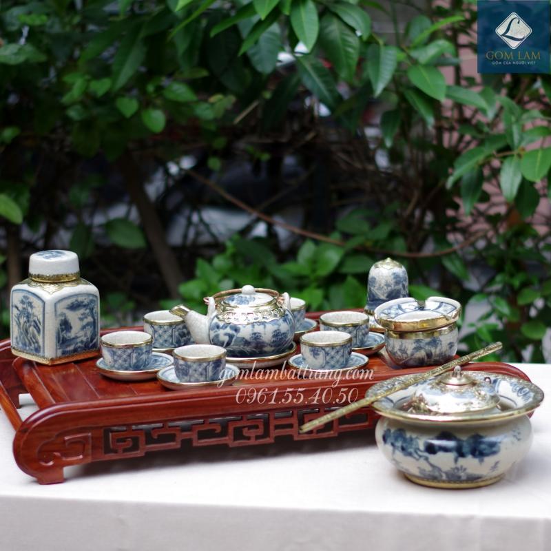 Ấm chén men rạn bọc đồng dáng Nhật vẽ sơn thủy trọn bộ
