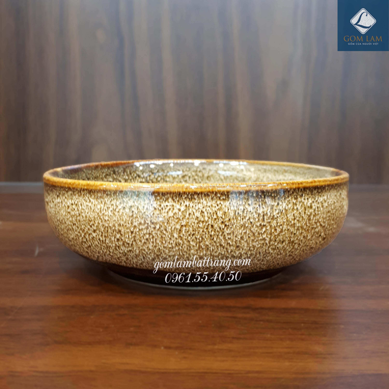 Bát súp men gấm vàng