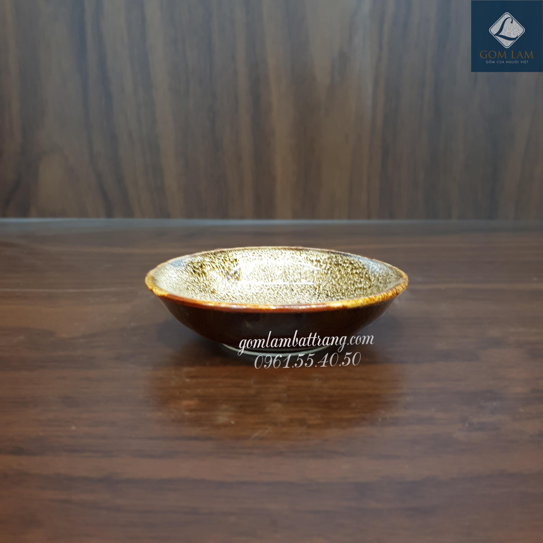 Đĩa gia vị men gấm vàng