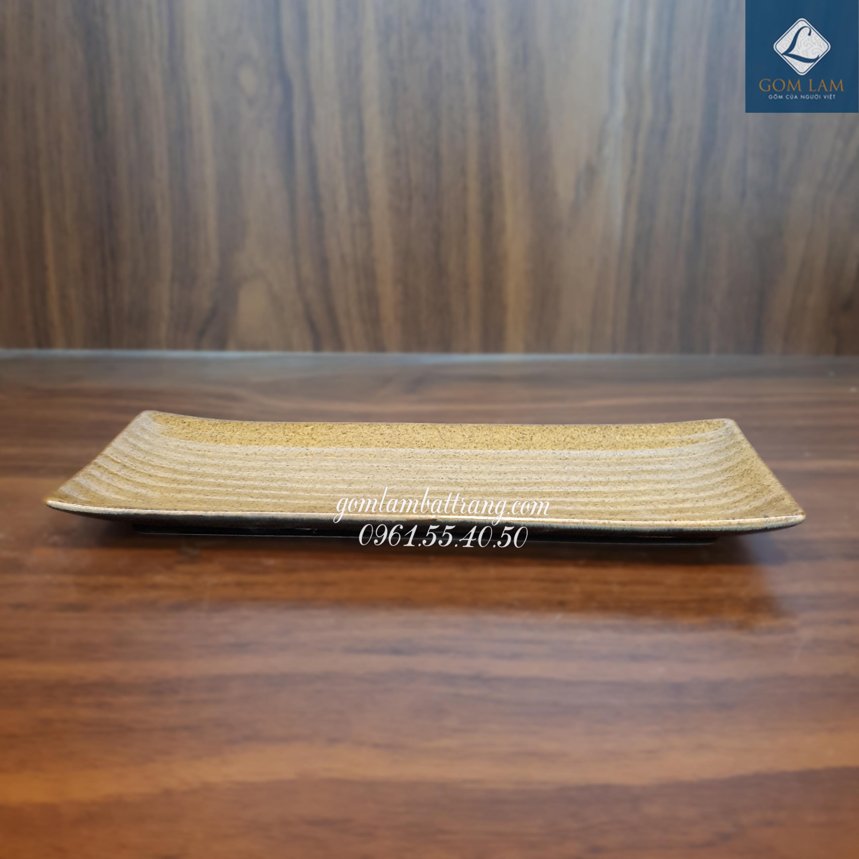 Khay nâu gốm dài 38cm
