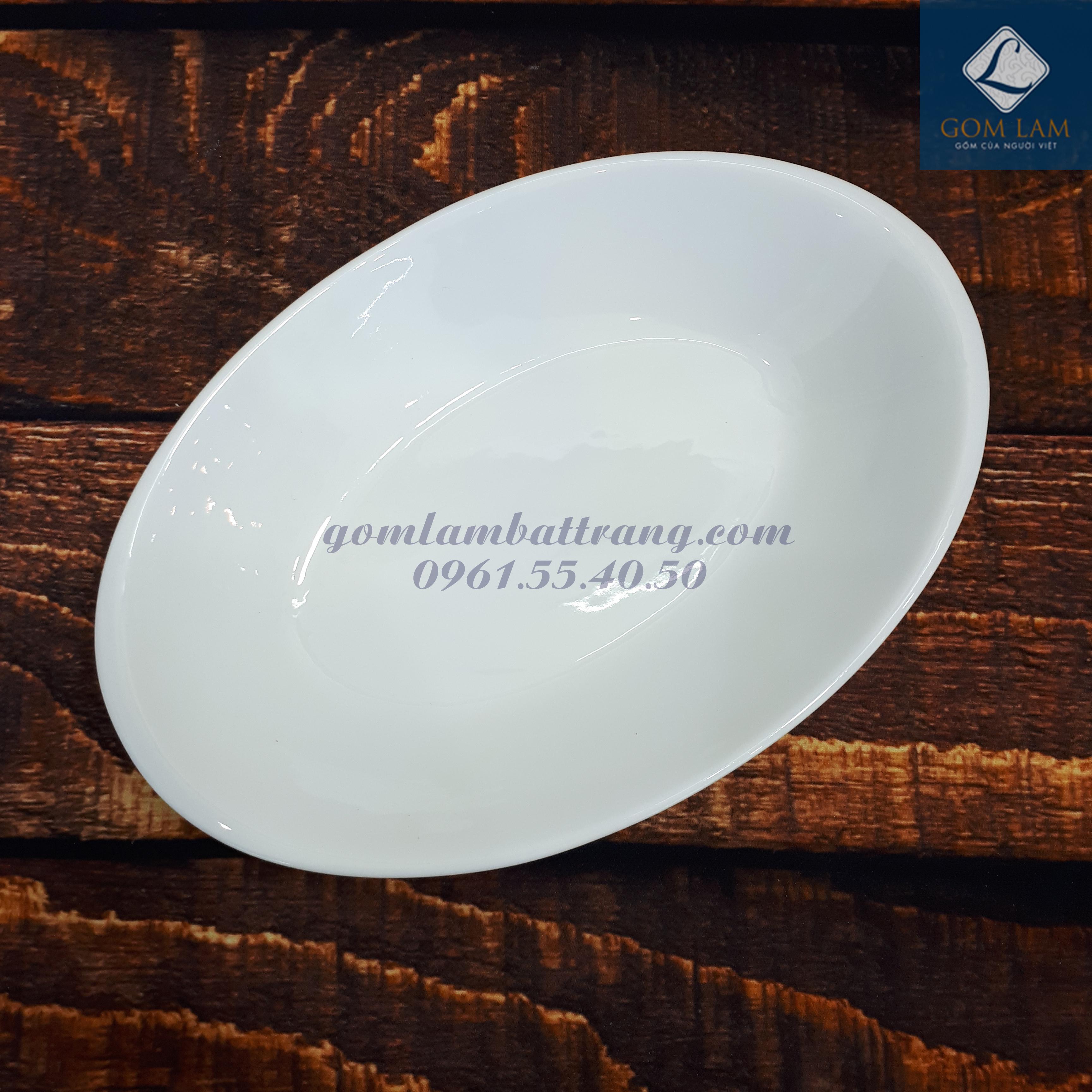 Đĩa thuyền sứ trắng cao cấp 25cm