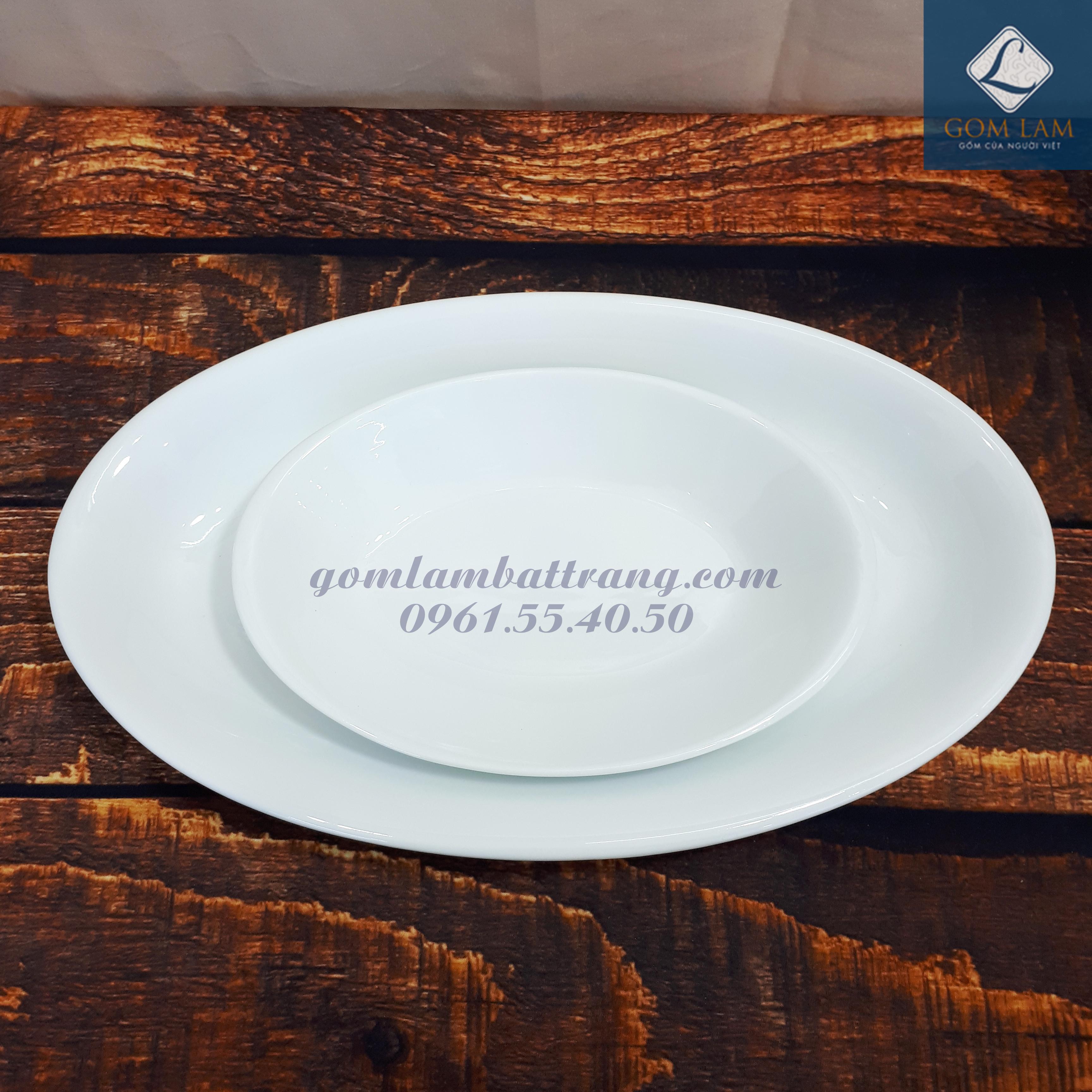 Đĩa thuyền sứ trắng cao cấp 40cm