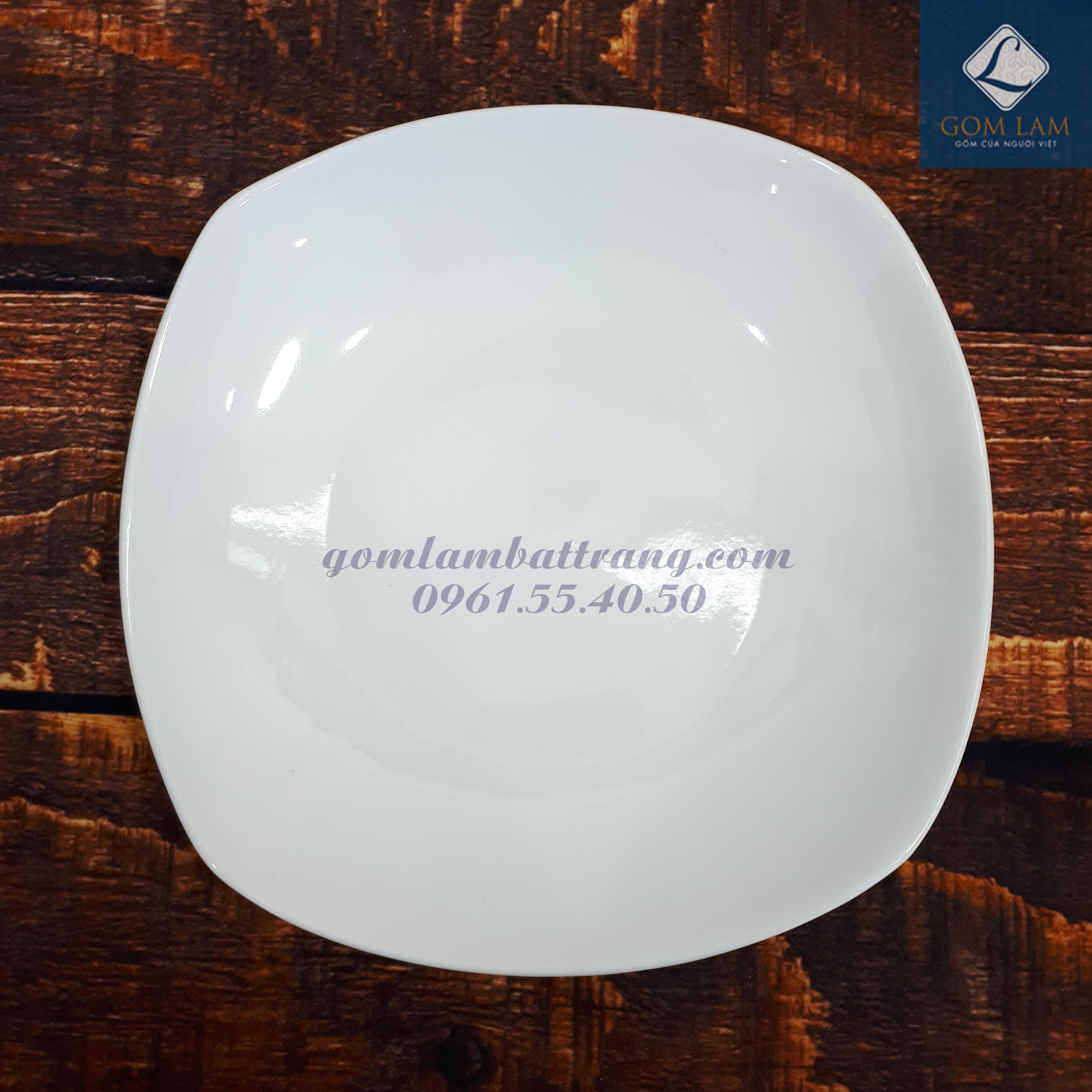 Đĩa ảo sứ trắng cao cấp 16x16
