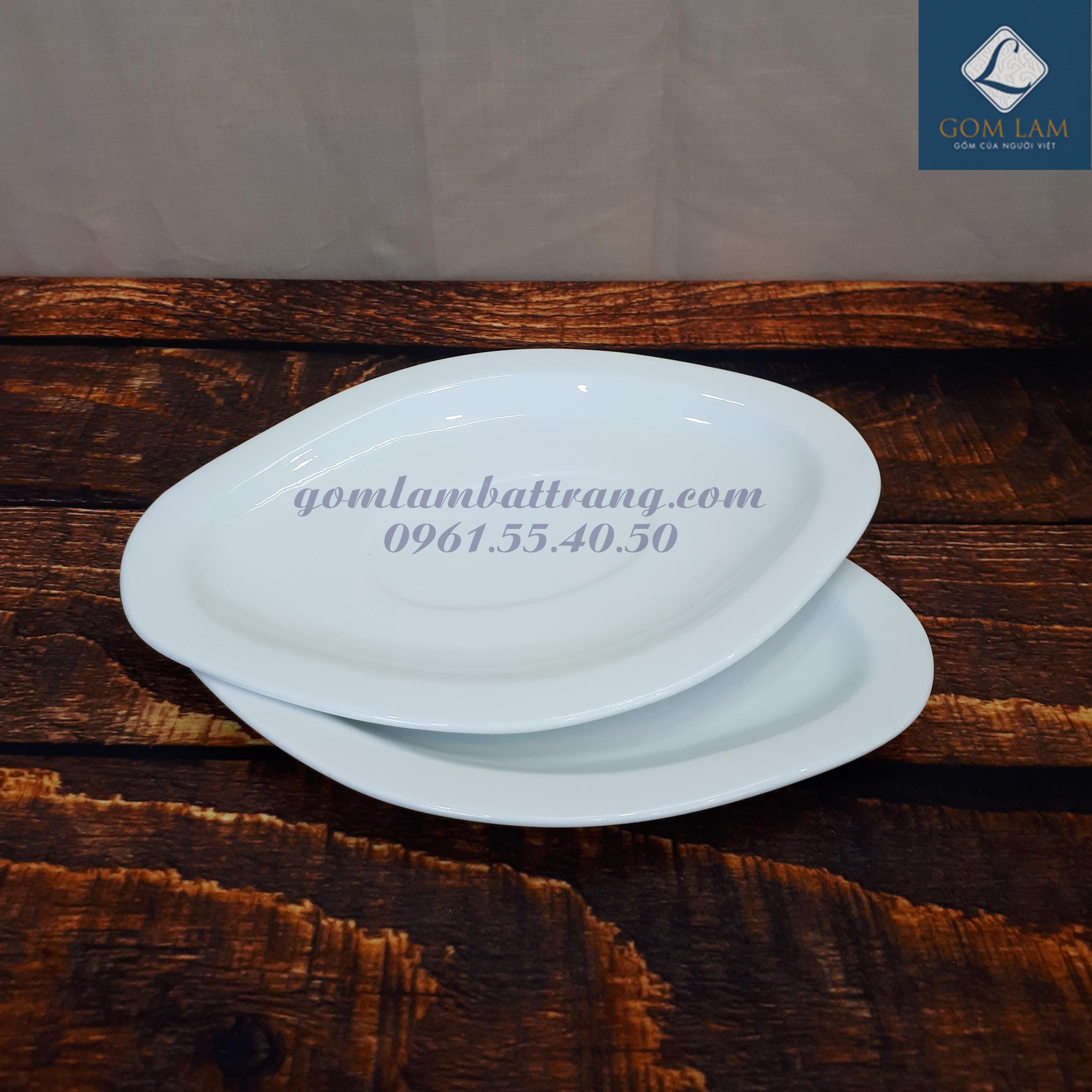 Bộ đồ ăn sứ trắng cao cấp đĩa hình thoi