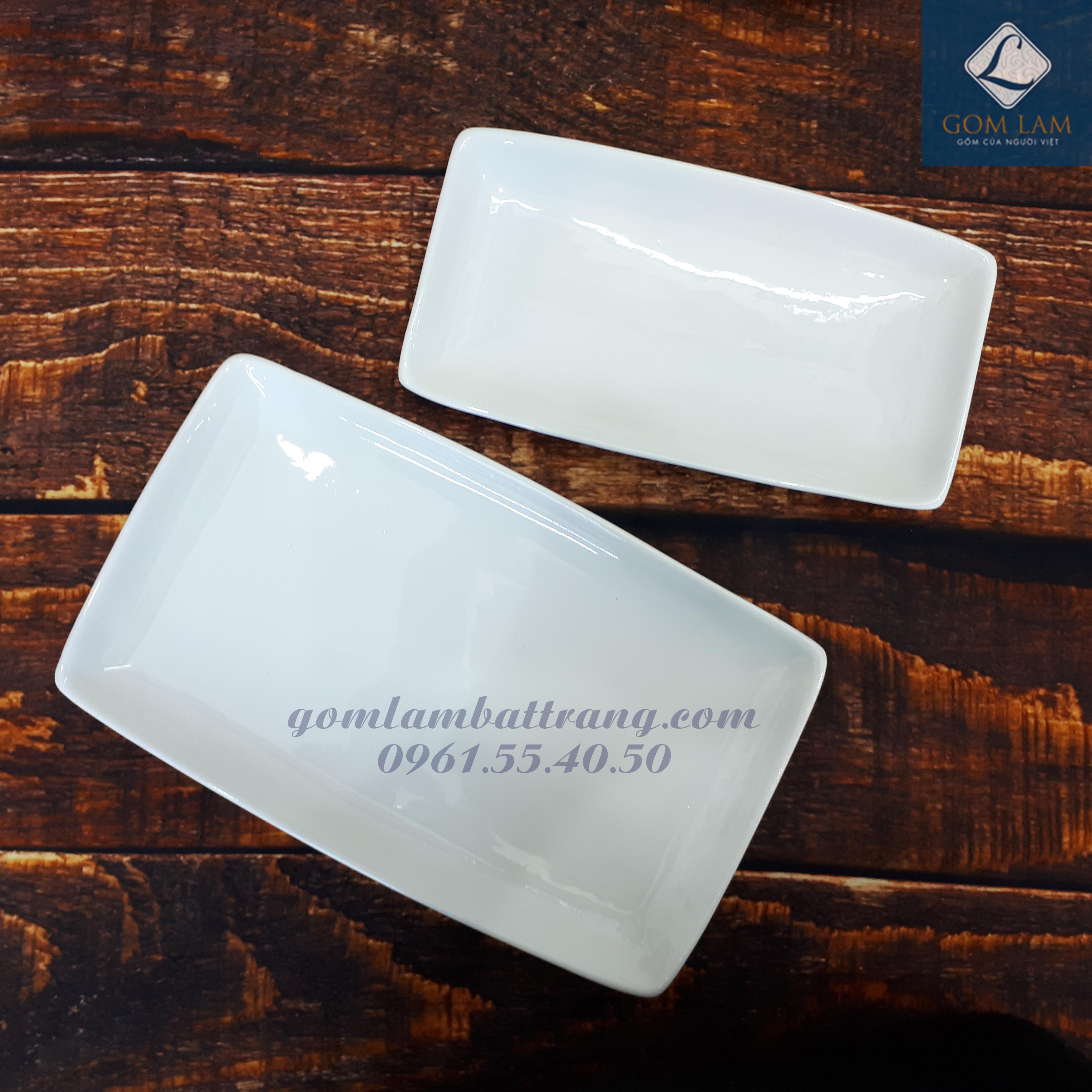 Bộ đồ ăn sứ trắng cao cấp khay chữ nhật modoo S1