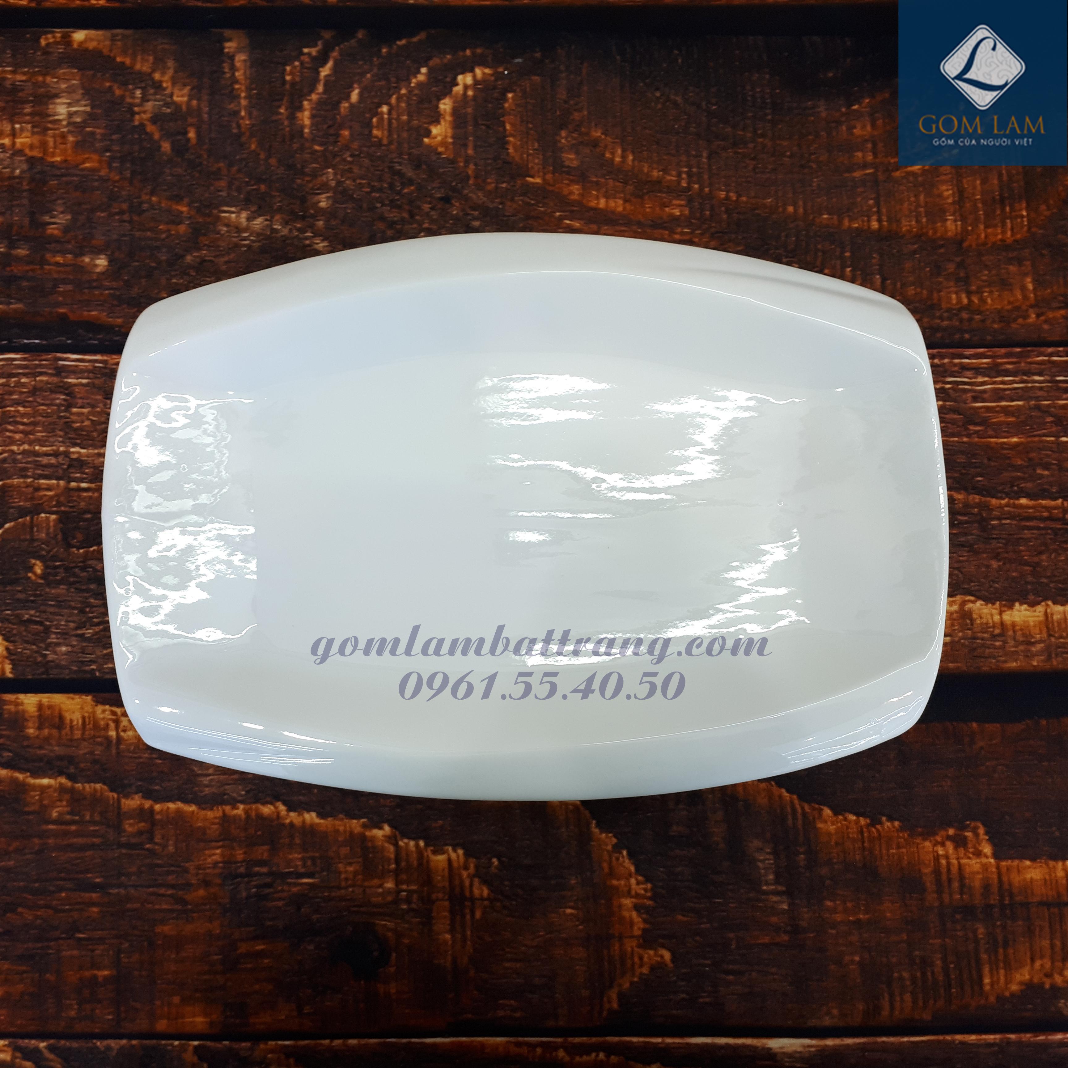 Bộ đồ ăn sứ trắng cao cấp khay chữ nhật phình