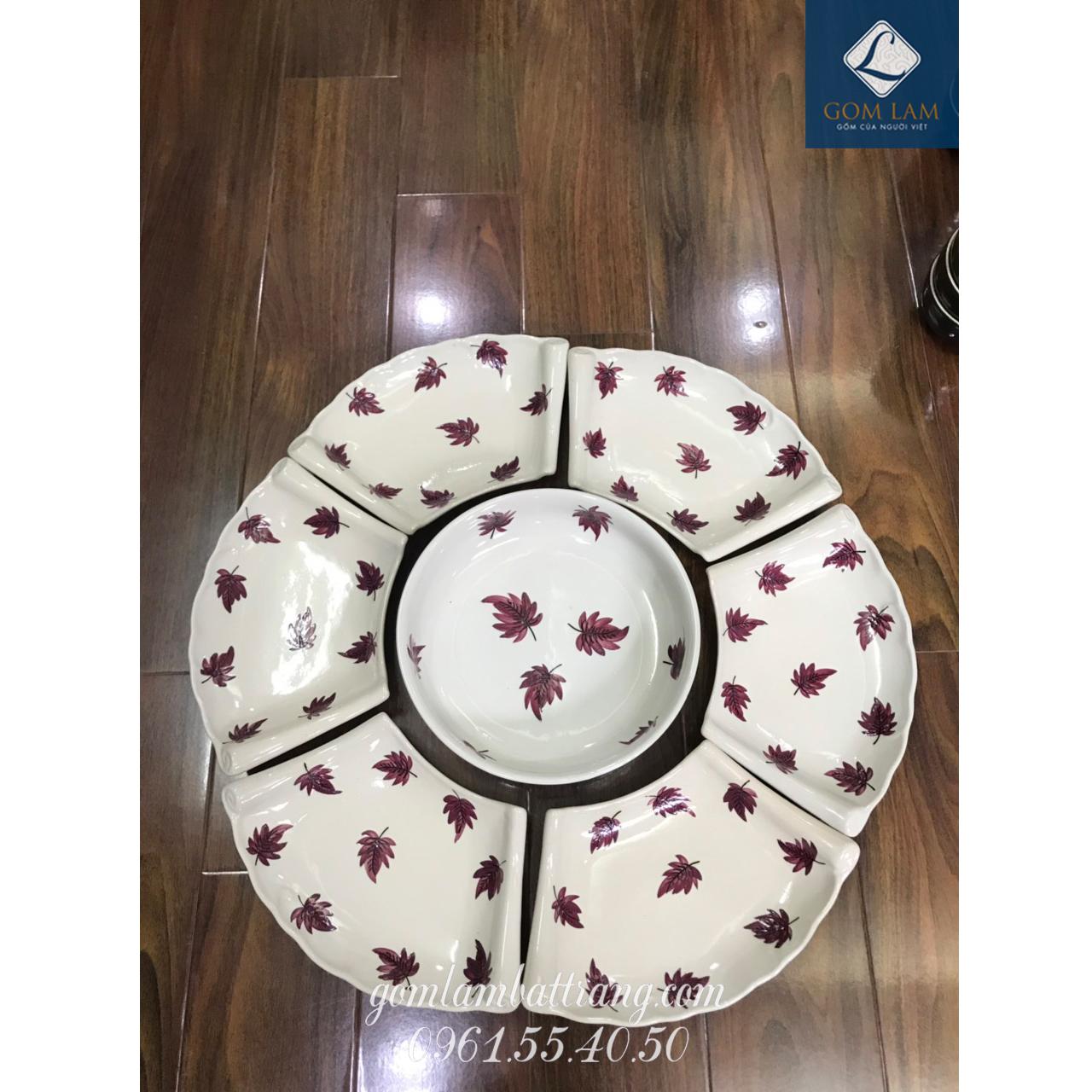 SET bát đĩa hoa 7 món sứ trắng vẽ lá số 3