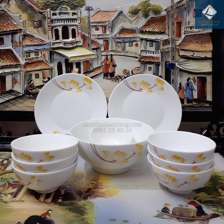 Bộ đồ ăn Sen vàng 10 sản phẩm
