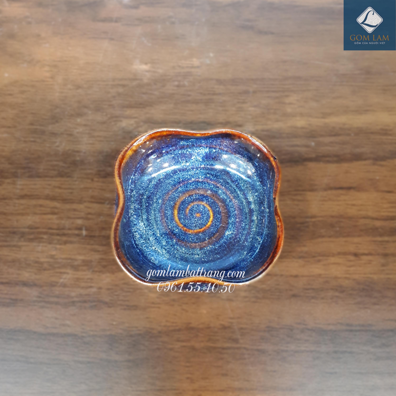 Đĩa muối hoa bé xanh biển