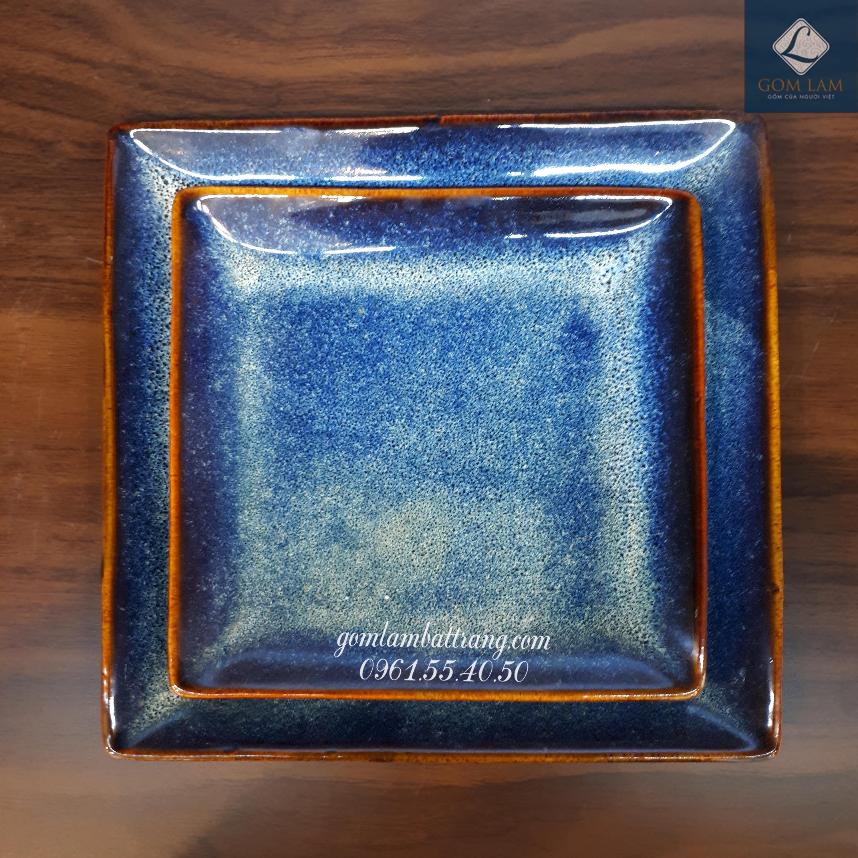 Khay vuông xanh biển S2