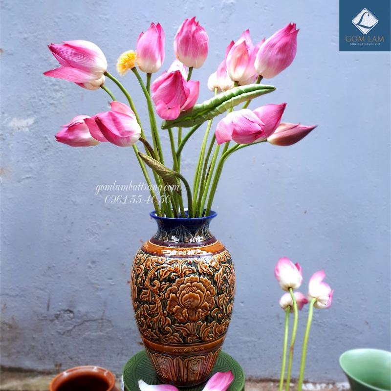 Lọ hoa đẹp gốm sứ Bát Tràng - bình hoa trang trí