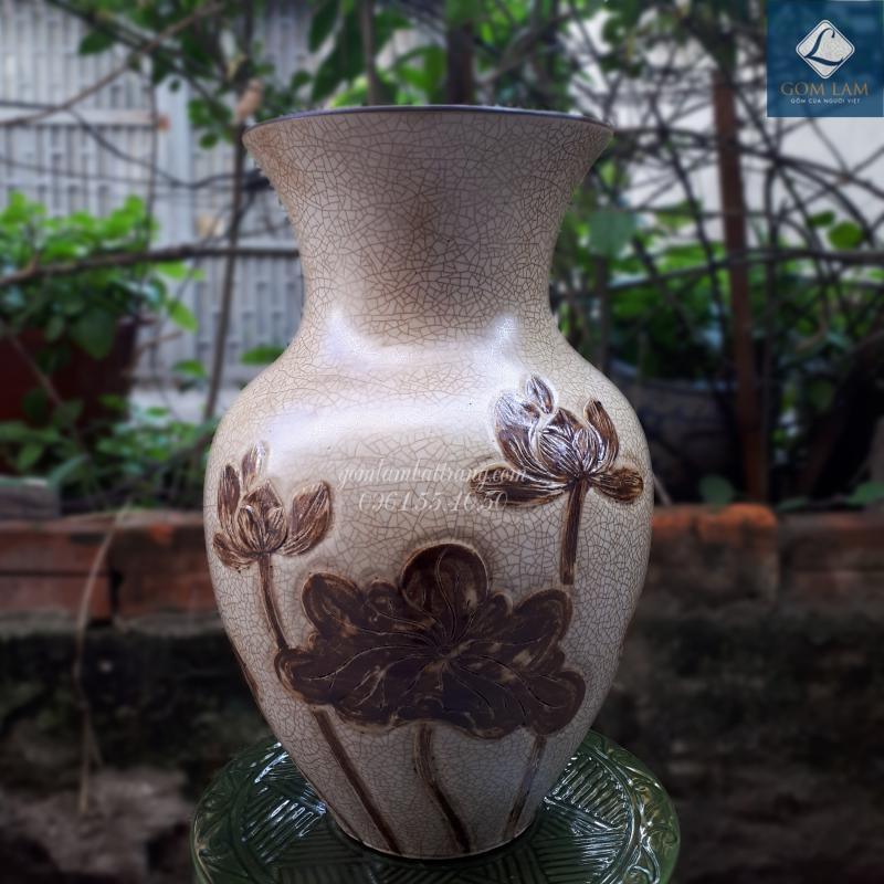 Lọ hoa khắc nổi xoài nhỏ vàng vẽ nâu Gốm Lam Bát Tràng