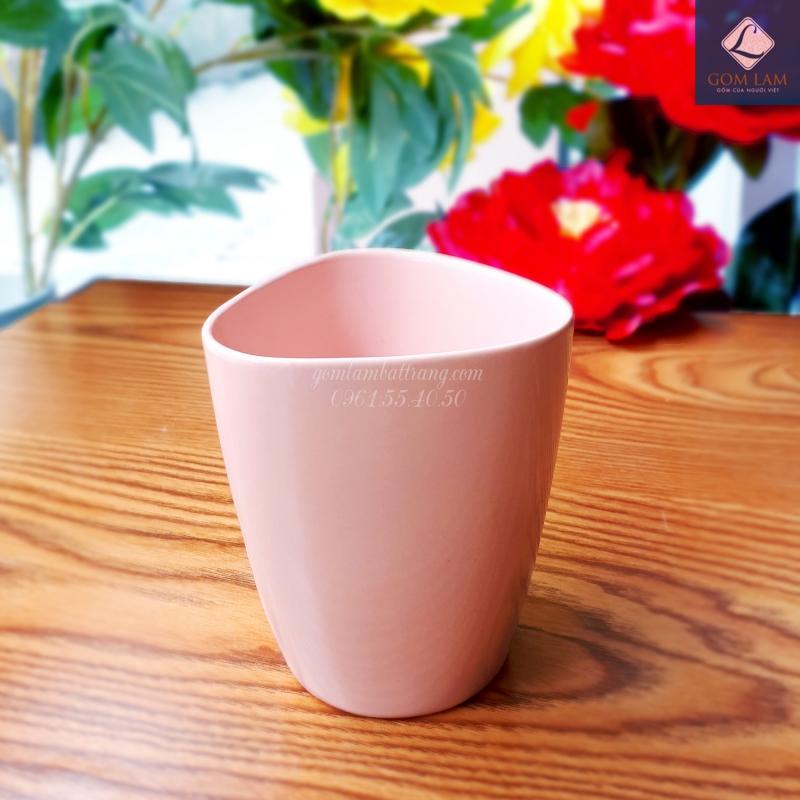 Cốc sứ Bát Tràng màu hồng