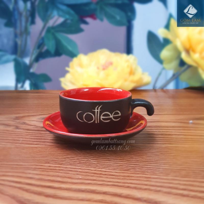 Cốc tách cà phê màu đỏ gốm sứ Bát Tràng cao cấp