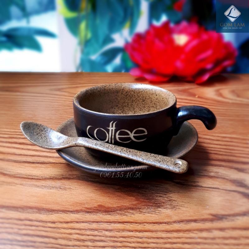 Cốc tách cà phê men da lươn gốm sứ Bát Tràng cao cấp kèm thìa