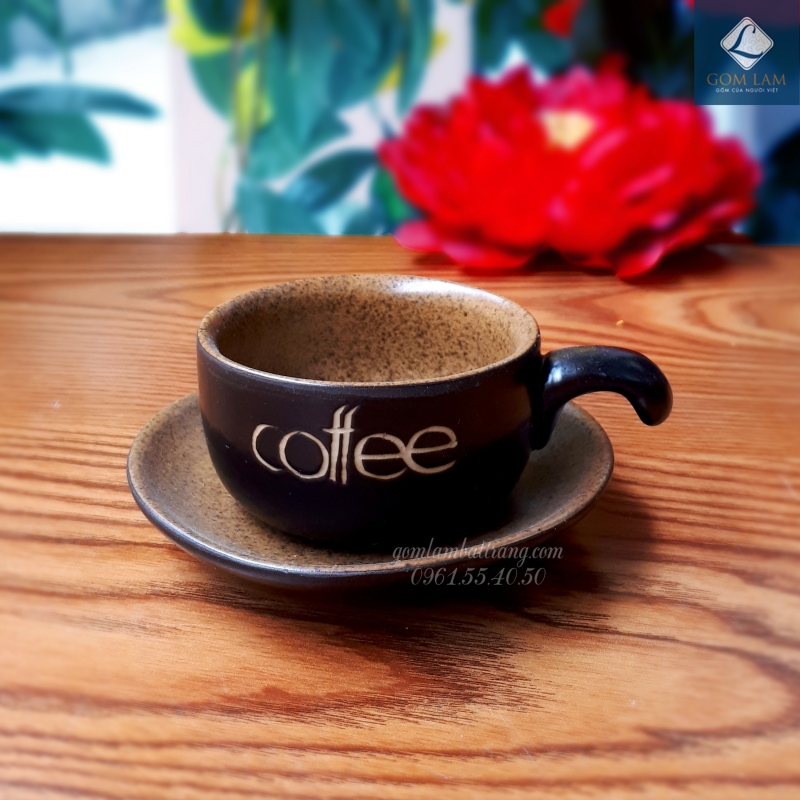 Cốc tách cà phê men da lươn gốm sứ Bát Tràng cao cấp