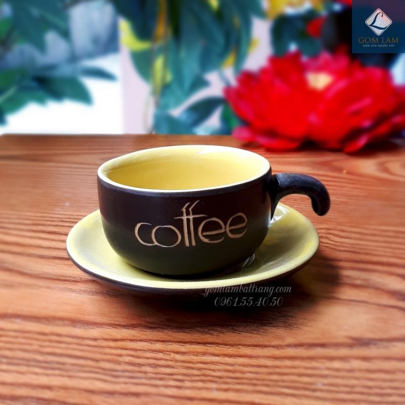 Cốc tách cà phê màu vàng gốm sứ Bát Tràng cao cấp