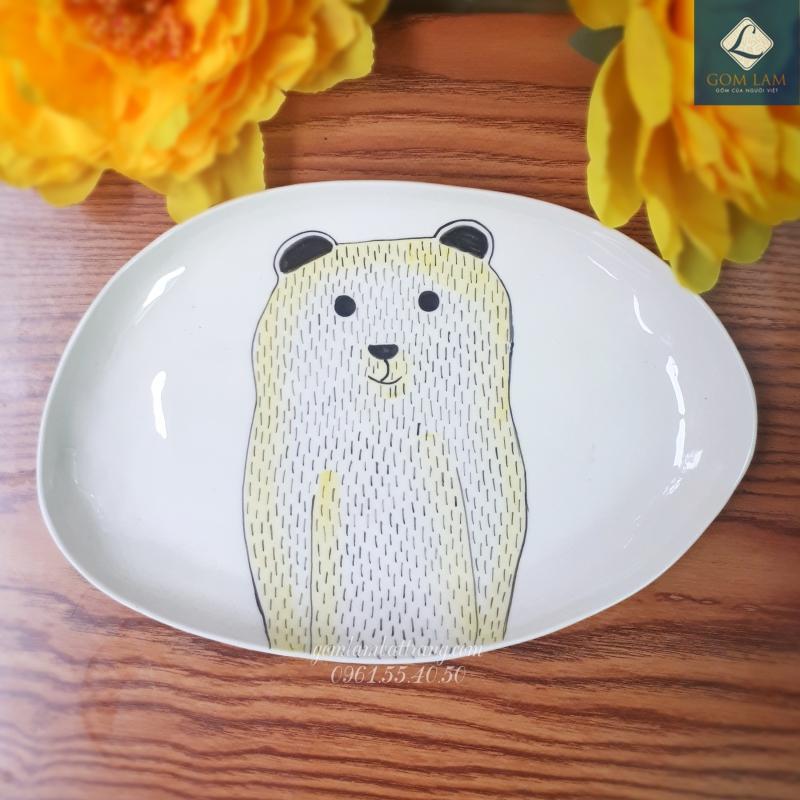 Đĩa bầu dục vẽ gấu gốm sứ Bát Tràng cao cấp