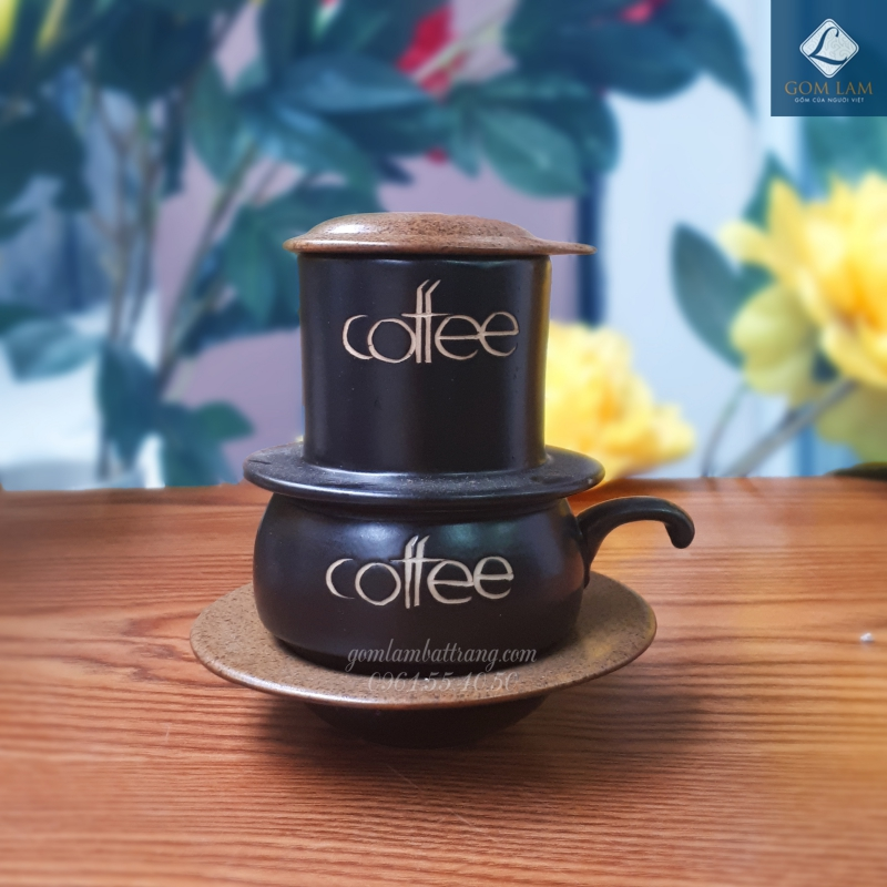 Phin cà phê gốm sứ Bát Tràng men da lươn