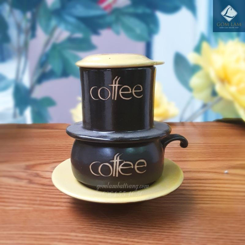 Phin cà phê bát tràng men da lươn