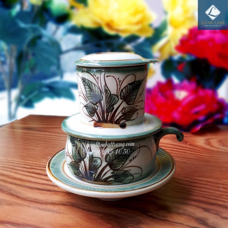 Phin cà phê vuốt tay vẽ chuồn khoai gốm sứ Bát Tràng cao cấp