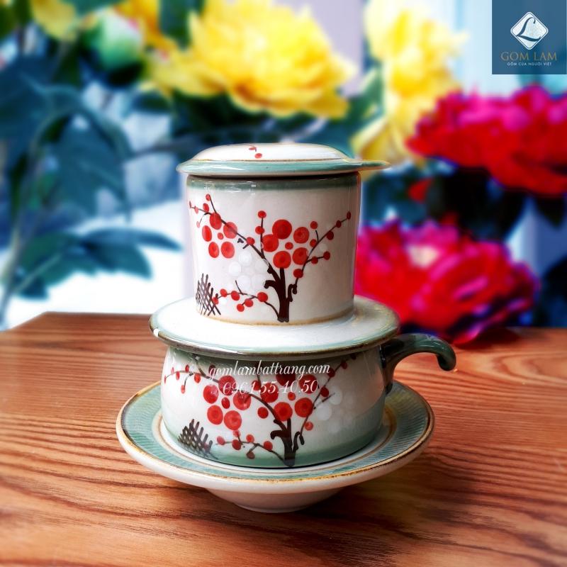 Phin cà phê vuốt tay vẽ hoa đào gốm sứ Bát Tràng cao cấp