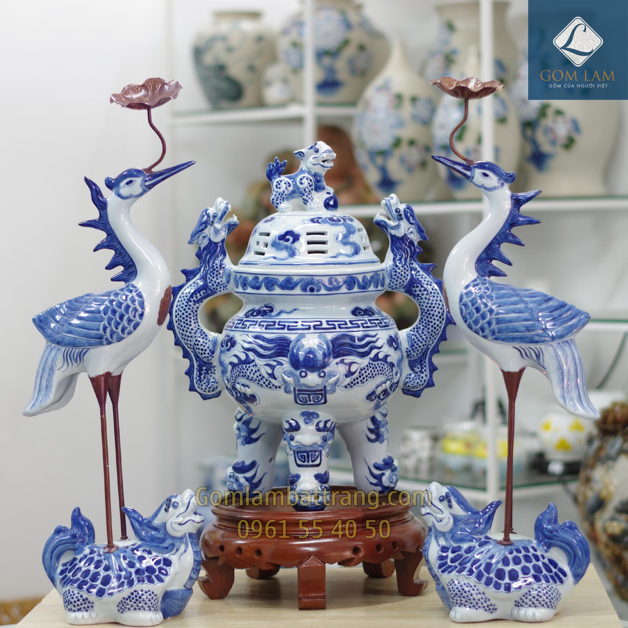 Bộ tam sự đỉnh hạc men xanh ngọc Gốm Lam Bát Tràng