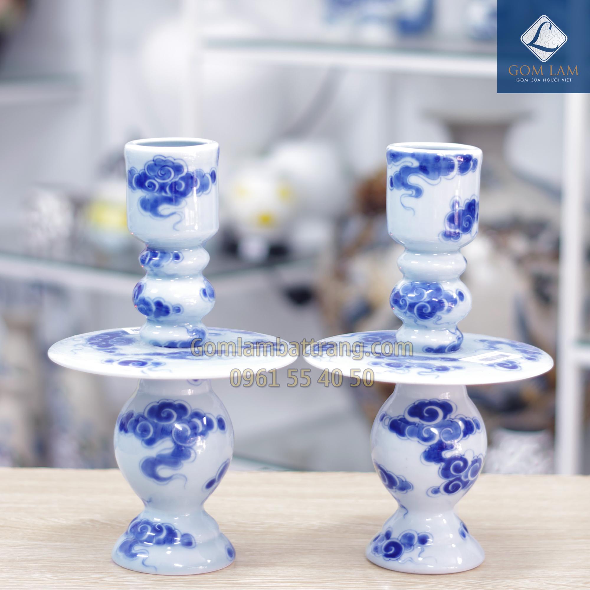 Cây nến men xanh ngọc Gốm Lam Bát Tràng