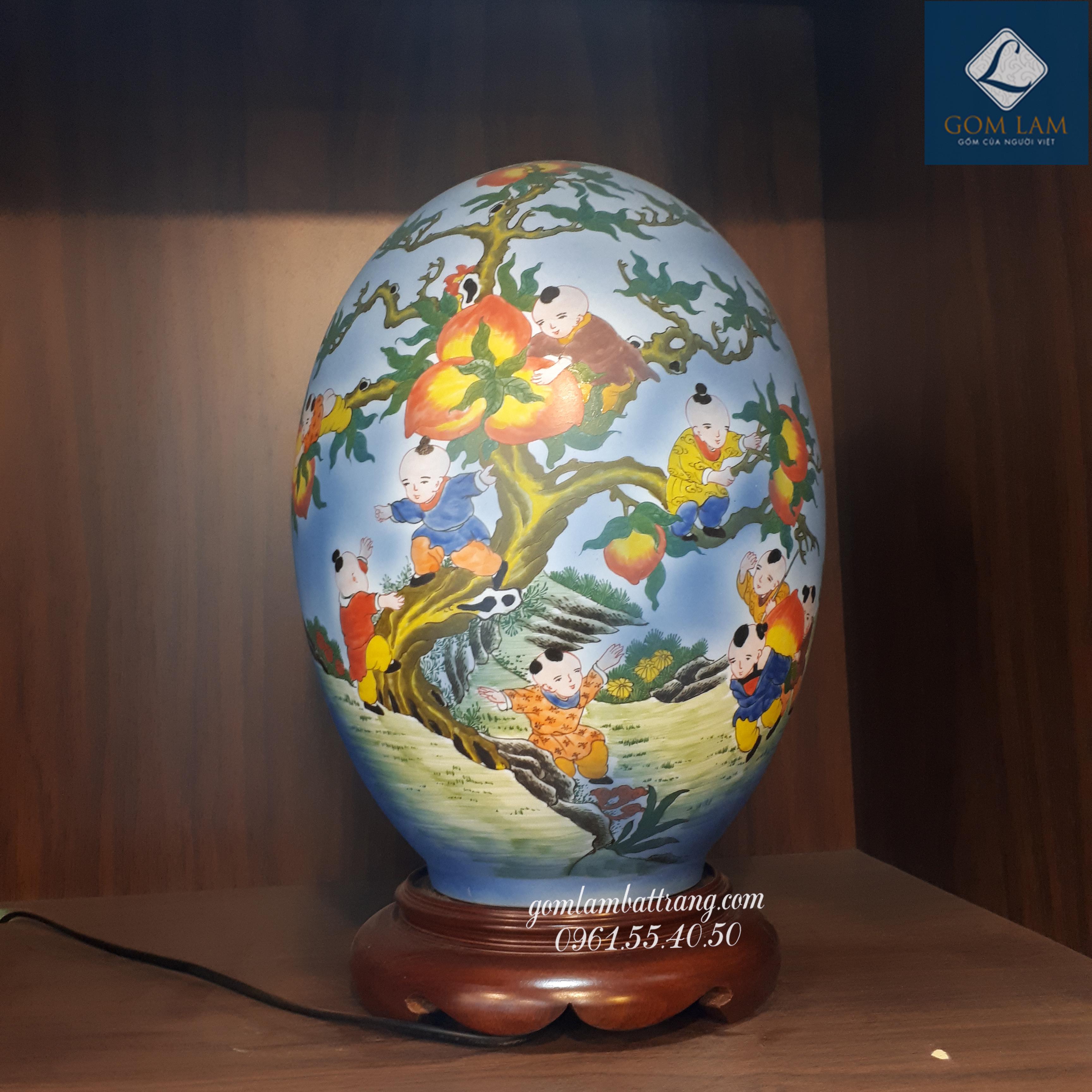 Đèn sứ thấu quang trứng Bách Nhi Bách Phúc