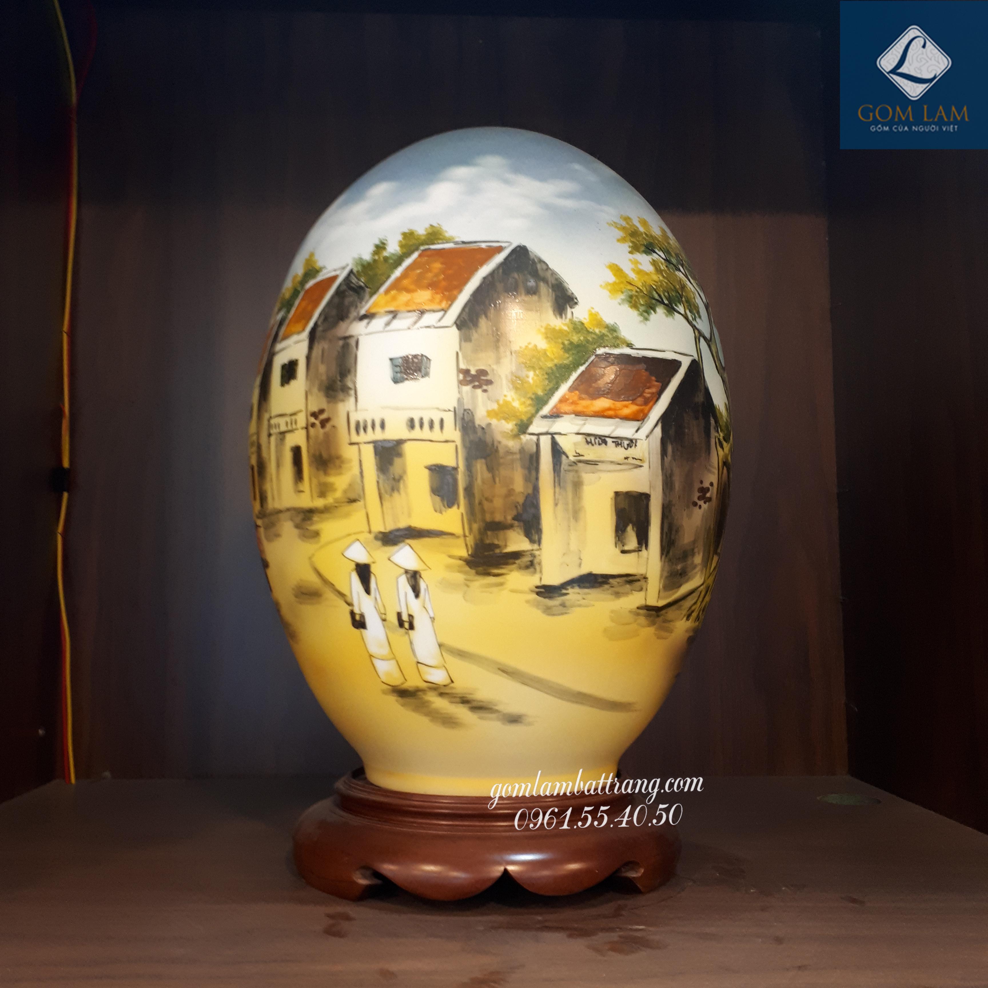 Đèn sứ thấu quang trứng Phố Cổ H40