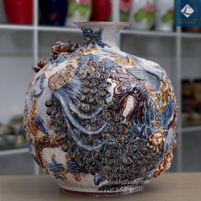 Bình hút lộc men rạn đắp nổi Khổng Tước Liên Hoa Gốm Lam