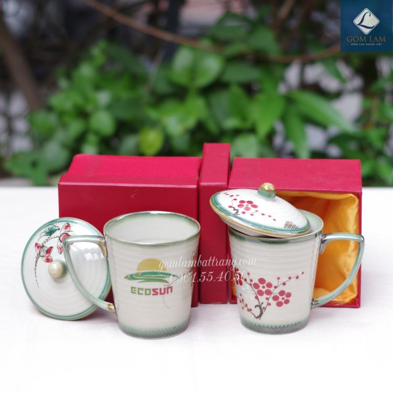 Cốc sứ men gio in logo quà tặng doanh nghiệp Gốm Lam Bát Tràng